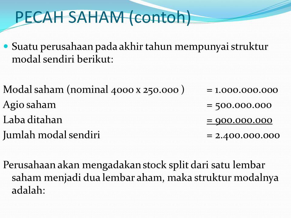 PECAH SAHAM (contoh) Suatu perusahaan pada akhir tahun mempunyai struktur modal sendiri berikut:
