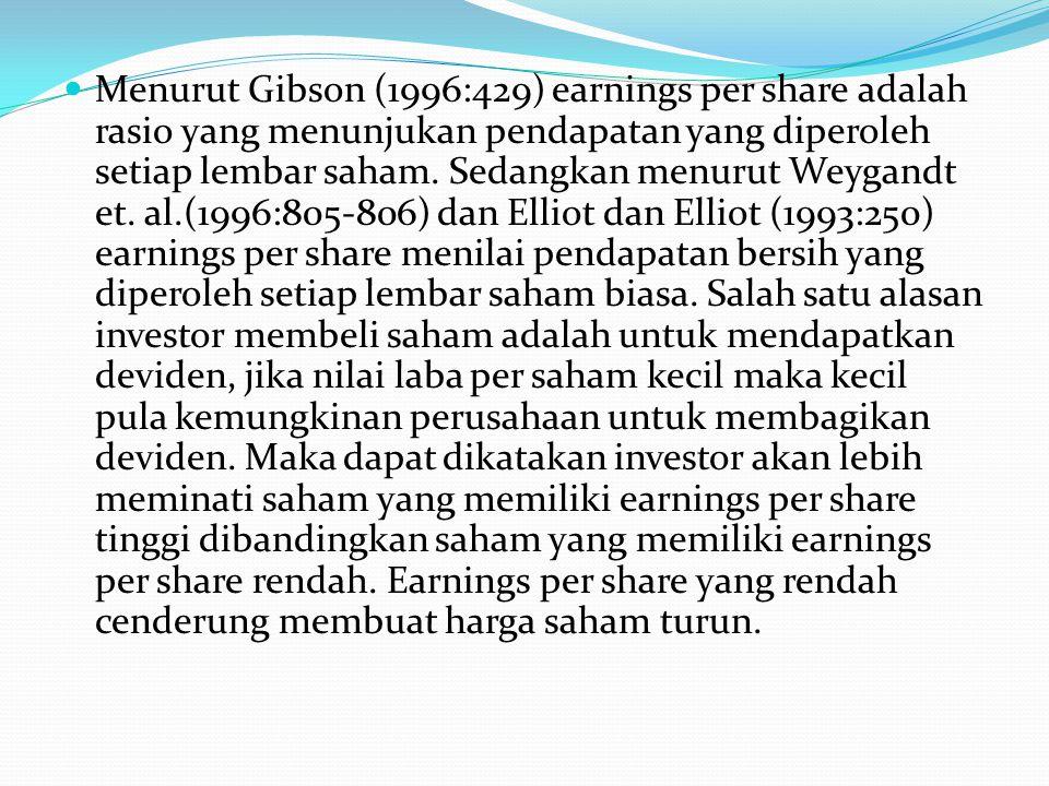Menurut Gibson (1996:429) earnings per share adalah rasio yang menunjukan pendapatan yang diperoleh setiap lembar saham.