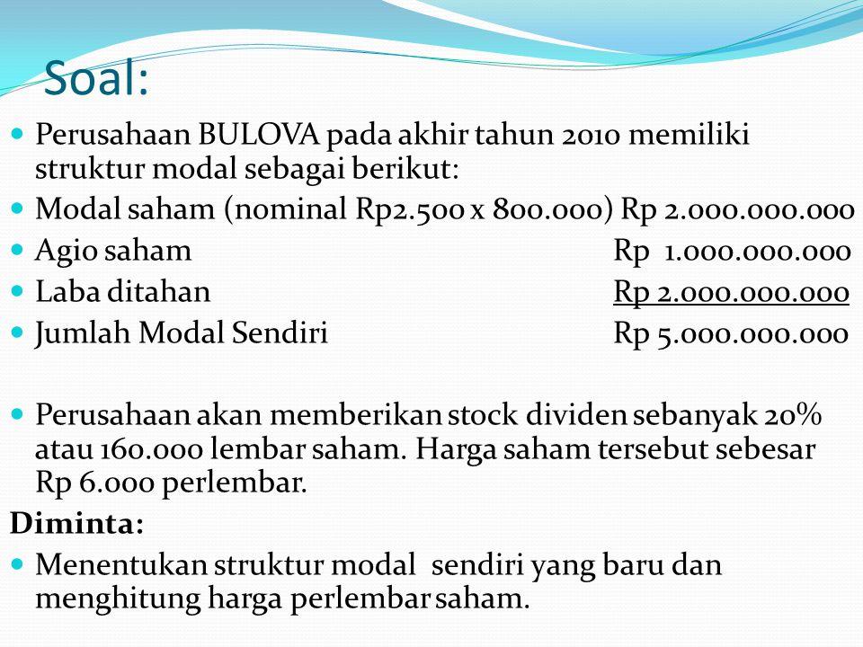 Soal: Perusahaan BULOVA pada akhir tahun 2010 memiliki struktur modal sebagai berikut: Modal saham (nominal Rp2.500 x 800.000) Rp 2.000.000.000.