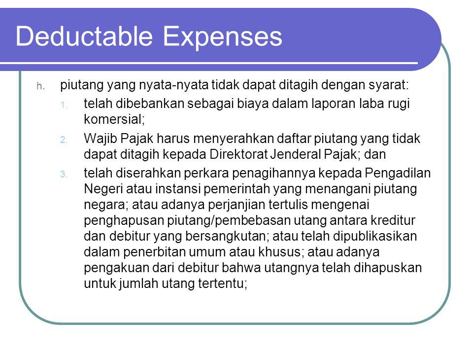 Deductable Expenses piutang yang nyata-nyata tidak dapat ditagih dengan syarat: telah dibebankan sebagai biaya dalam laporan laba rugi komersial;