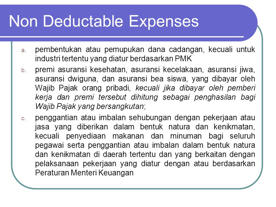 Non Deductable Expenses