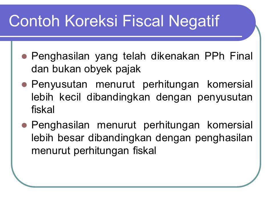 Contoh Koreksi Fiscal Negatif