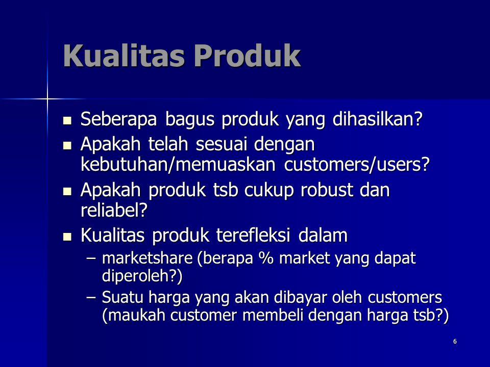 Kualitas Produk Seberapa bagus produk yang dihasilkan