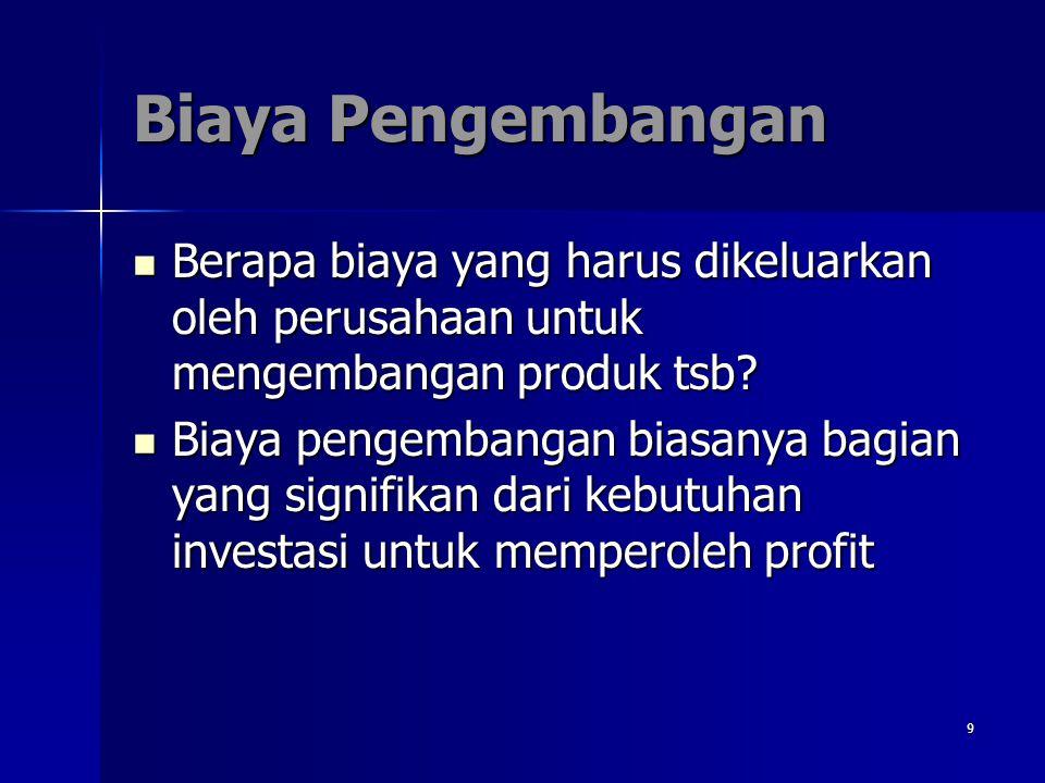Biaya Pengembangan Berapa biaya yang harus dikeluarkan oleh perusahaan untuk mengembangan produk tsb