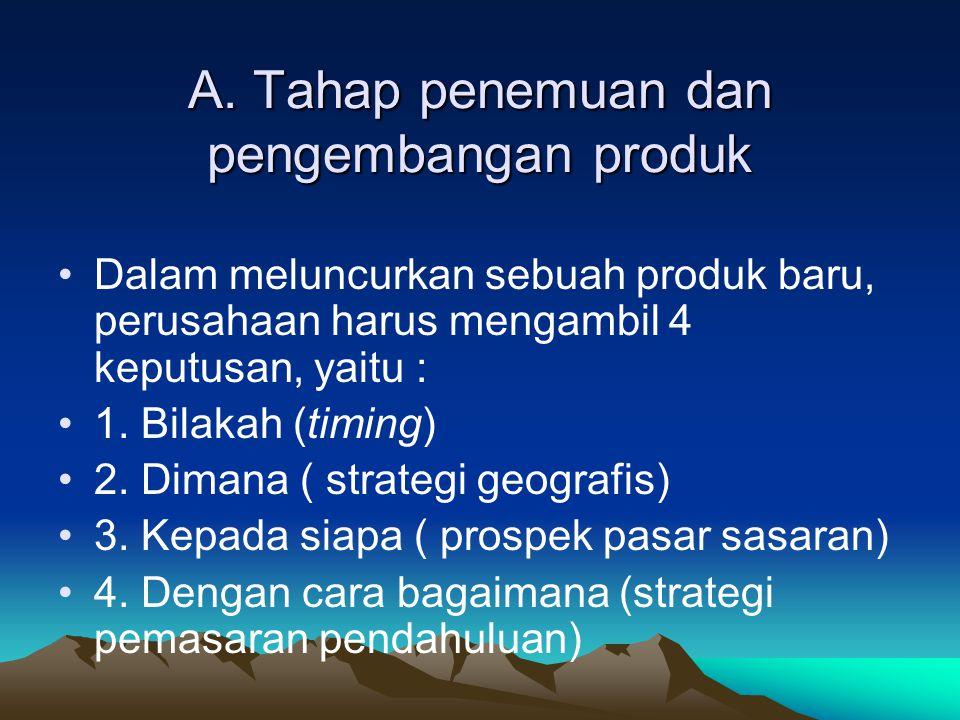A. Tahap penemuan dan pengembangan produk