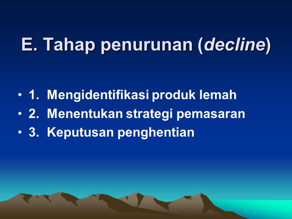 E. Tahap penurunan (decline)