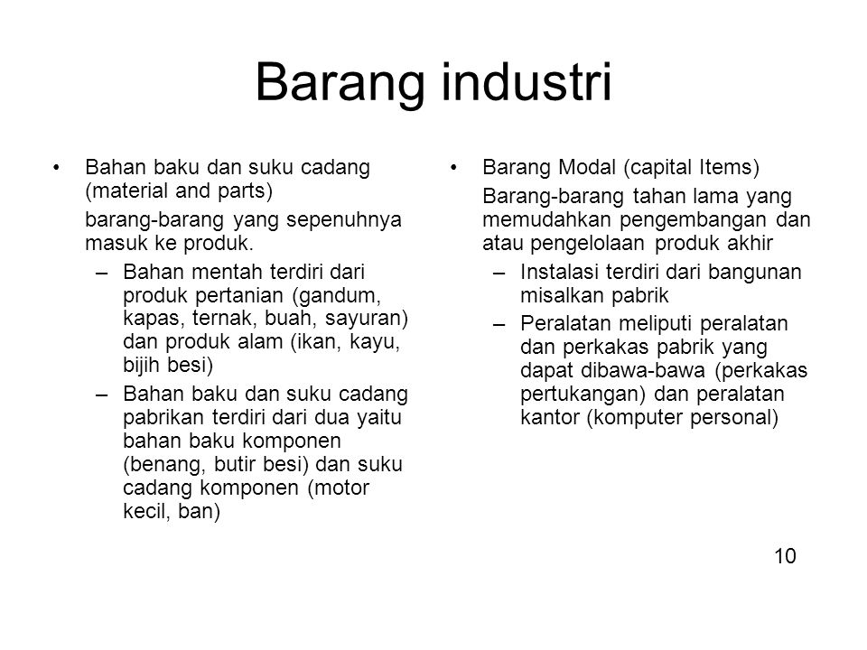 Barang industri Bahan baku dan suku cadang (material and parts)