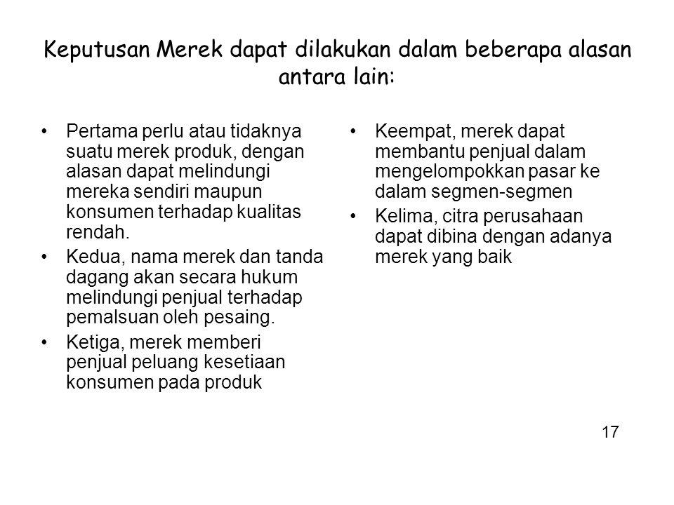Keputusan Merek dapat dilakukan dalam beberapa alasan antara lain:
