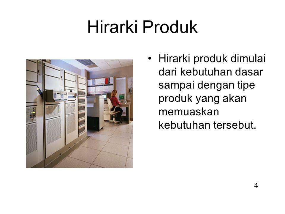Hirarki Produk Hirarki produk dimulai dari kebutuhan dasar sampai dengan tipe produk yang akan memuaskan kebutuhan tersebut.