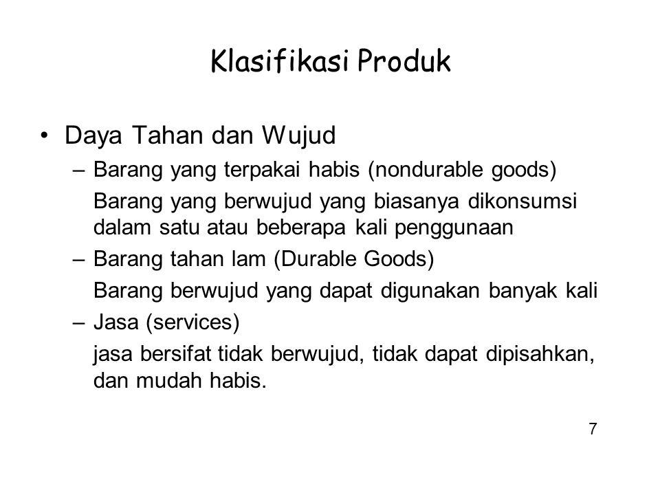 Klasifikasi Produk Daya Tahan dan Wujud