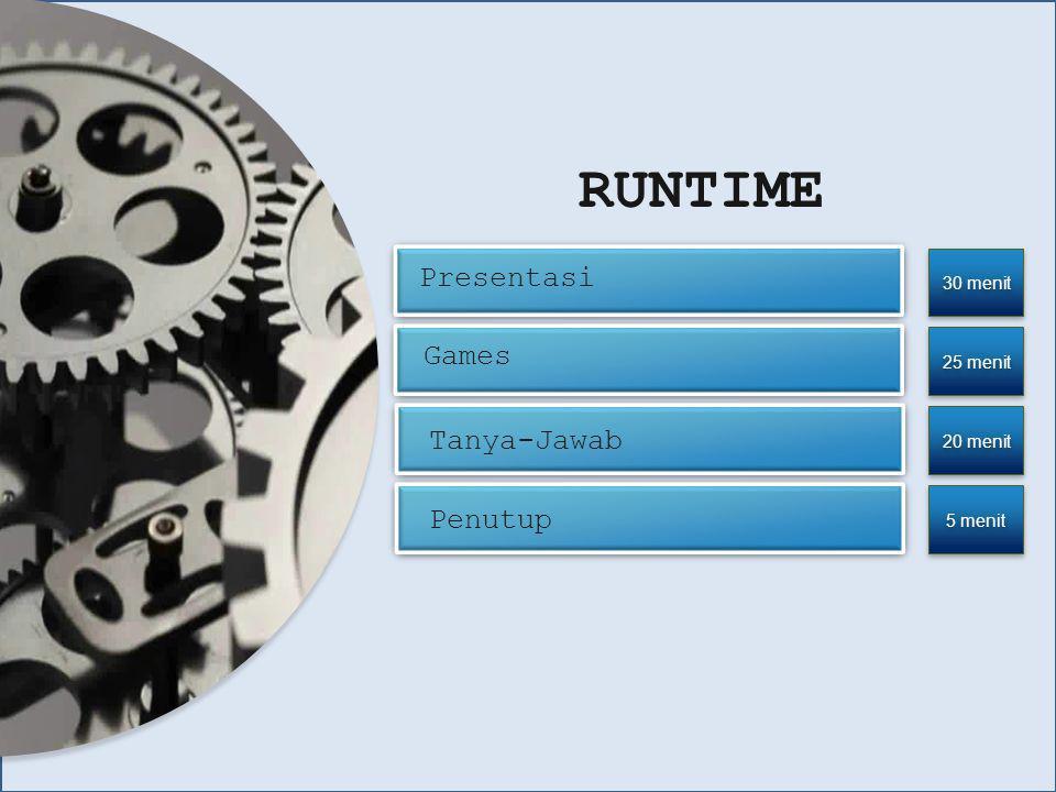 RUNTIME Presentasi Games Tanya-Jawab Penutup 30 menit 25 menit
