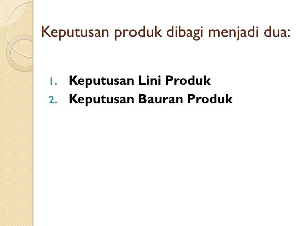 Keputusan produk dibagi menjadi dua: