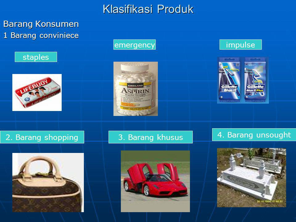 Klasifikasi Produk Barang Konsumen 1 Barang conviniece emergency