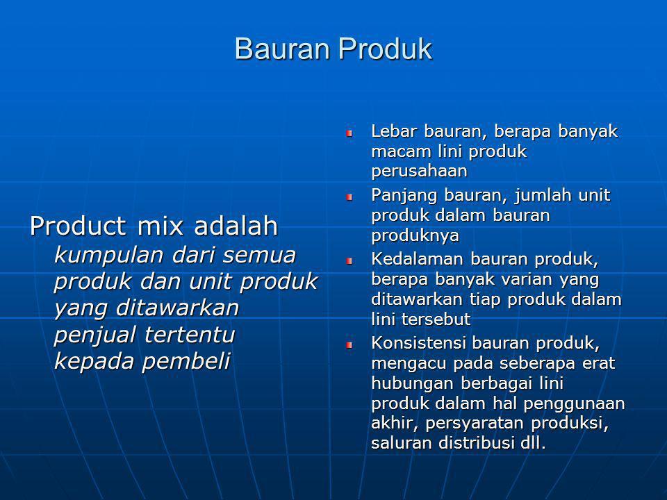 Bauran Produk Lebar bauran, berapa banyak macam lini produk perusahaan. Panjang bauran, jumlah unit produk dalam bauran produknya.