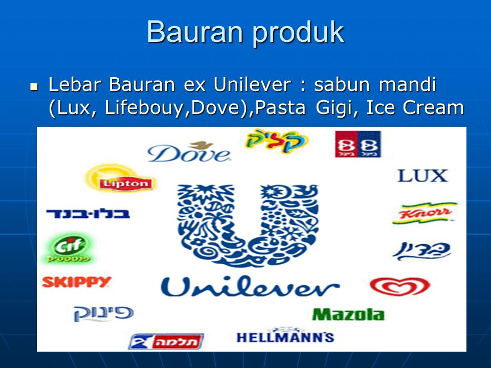 Bauran produk Lebar Bauran ex Unilever : sabun mandi (Lux, Lifebouy,Dove),Pasta Gigi, Ice Cream