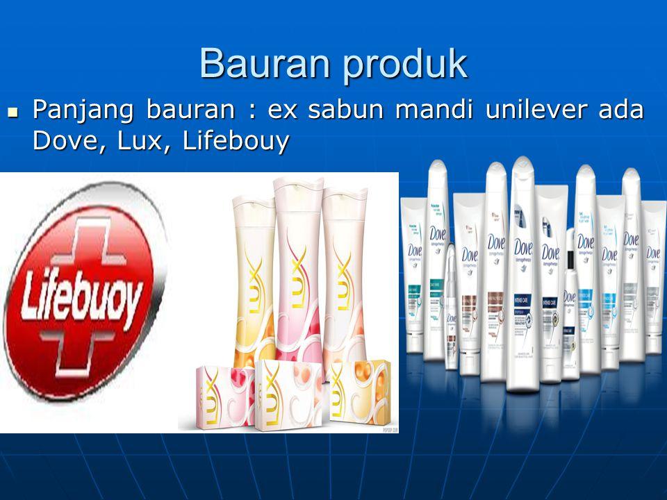 Bauran produk Panjang bauran : ex sabun mandi unilever ada Dove, Lux, Lifebouy