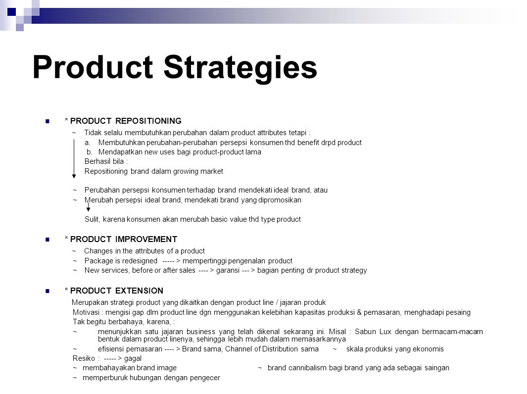 Product Strategies * PRODUCT REPOSITIONING