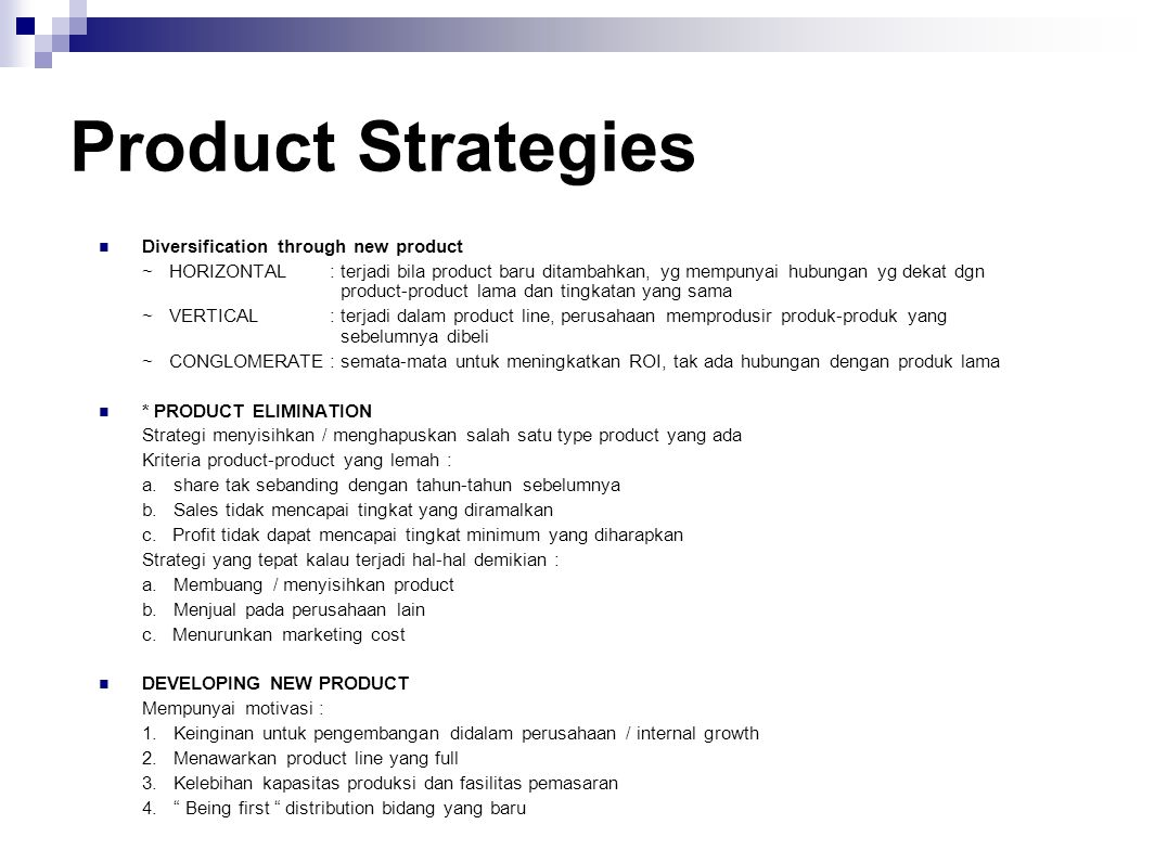 Product Strategies Diversification through new product