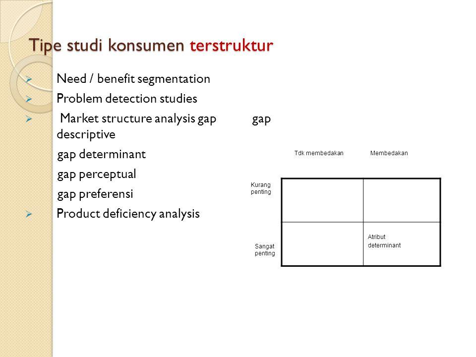 Tipe studi konsumen terstruktur