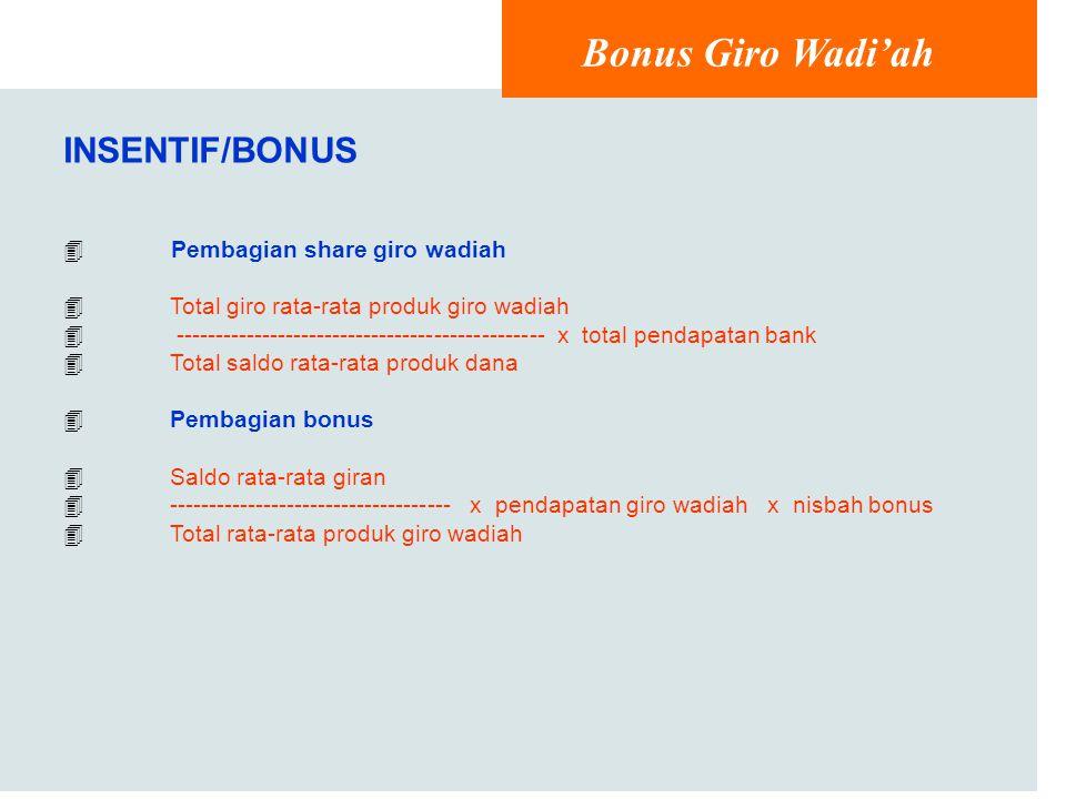 Bonus Giro Wadi'ah INSENTIF/BONUS Pembagian share giro wadiah