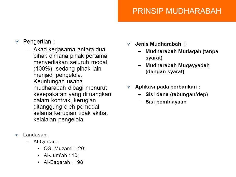 PRINSIP MUDHARABAH Pengertian :
