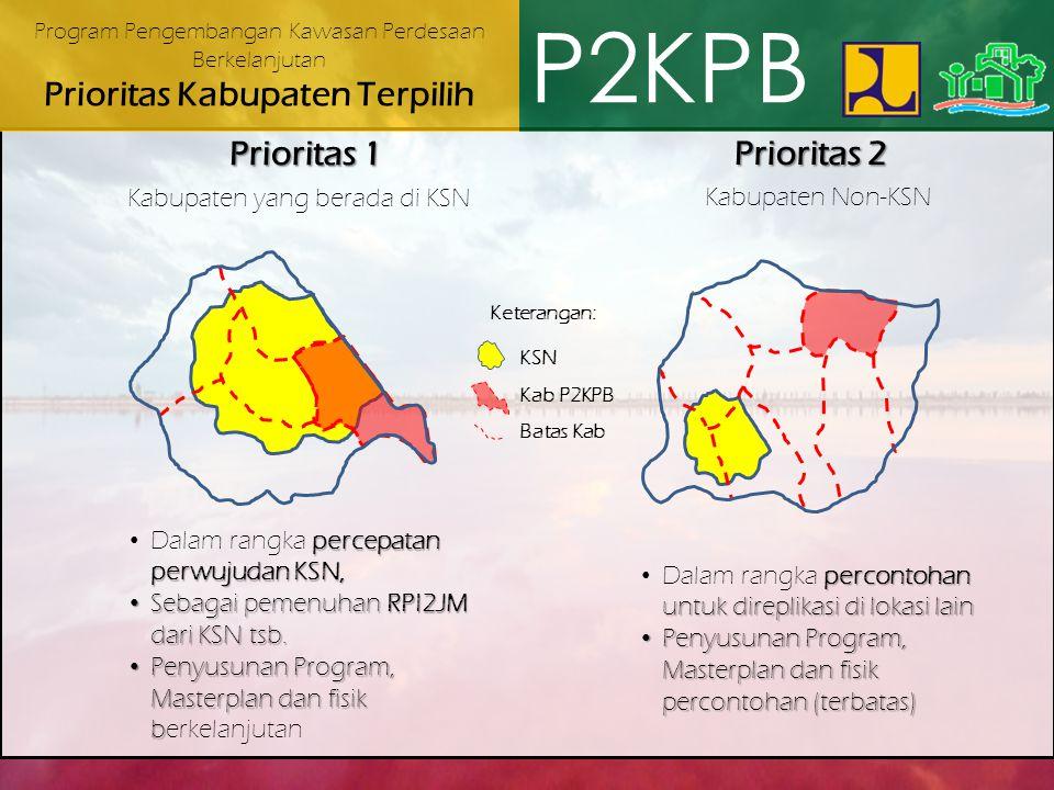 P2KPB Prioritas 1 Prioritas 2 Kabupaten yang berada di KSN