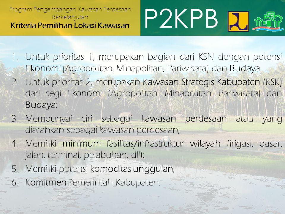 Program Pengembangan Kawasan Perdesaan Berkelanjutan Kriteria Pemilihan Lokasi Kawasan