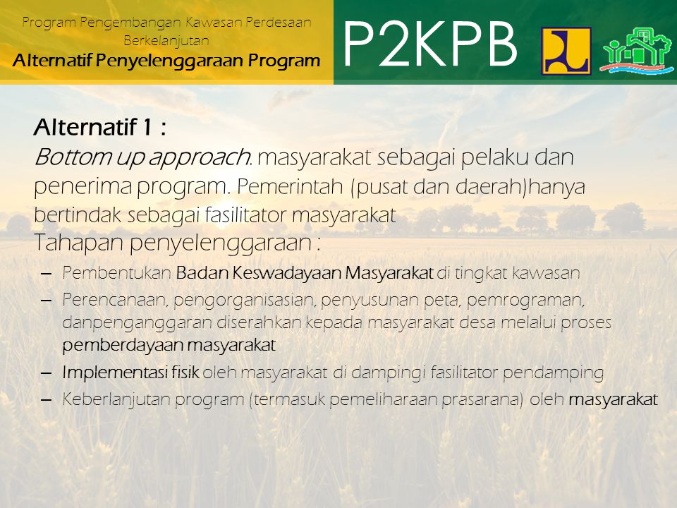 Program Pengembangan Kawasan Perdesaan Berkelanjutan Alternatif Penyelenggaraan Program