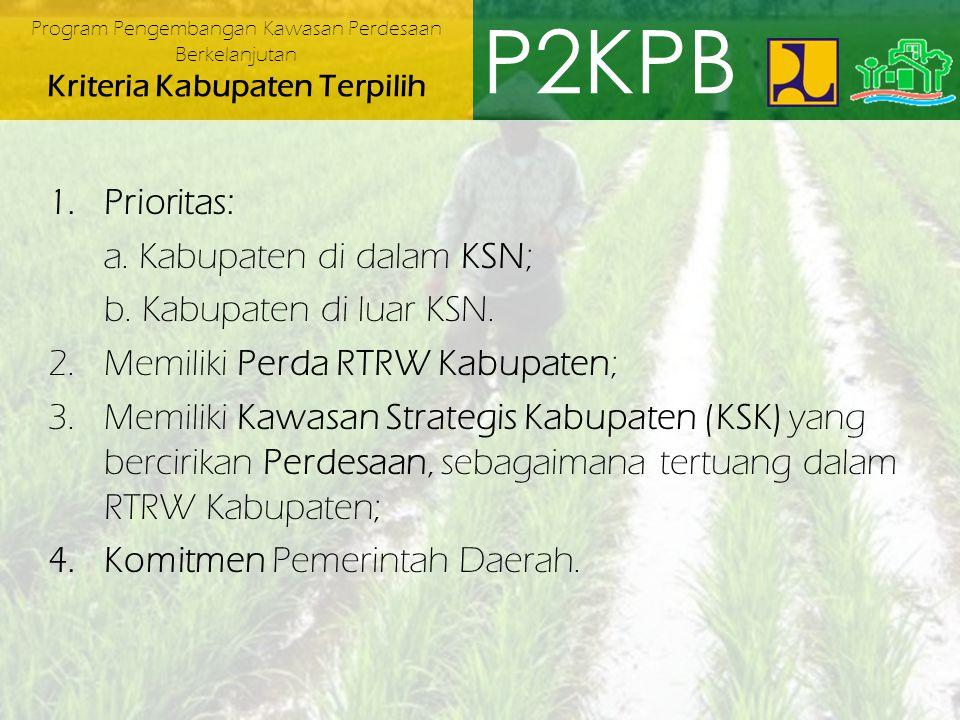 P2KPB Prioritas: a. Kabupaten di dalam KSN; b. Kabupaten di luar KSN.