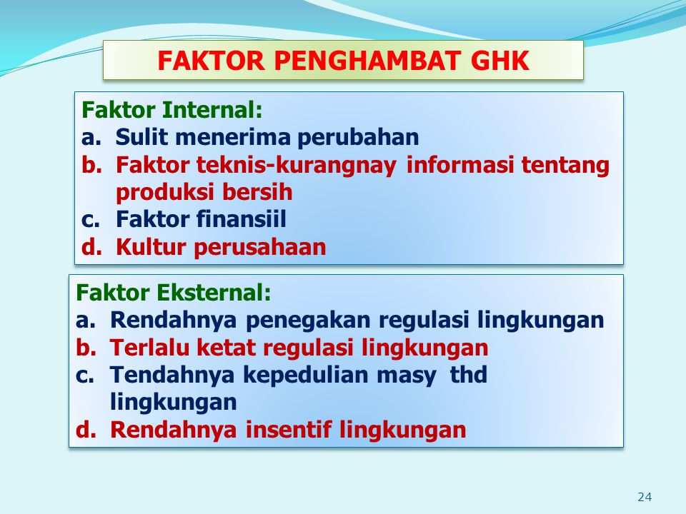 FAKTOR PENGHAMBAT GHK Faktor Internal: Sulit menerima perubahan