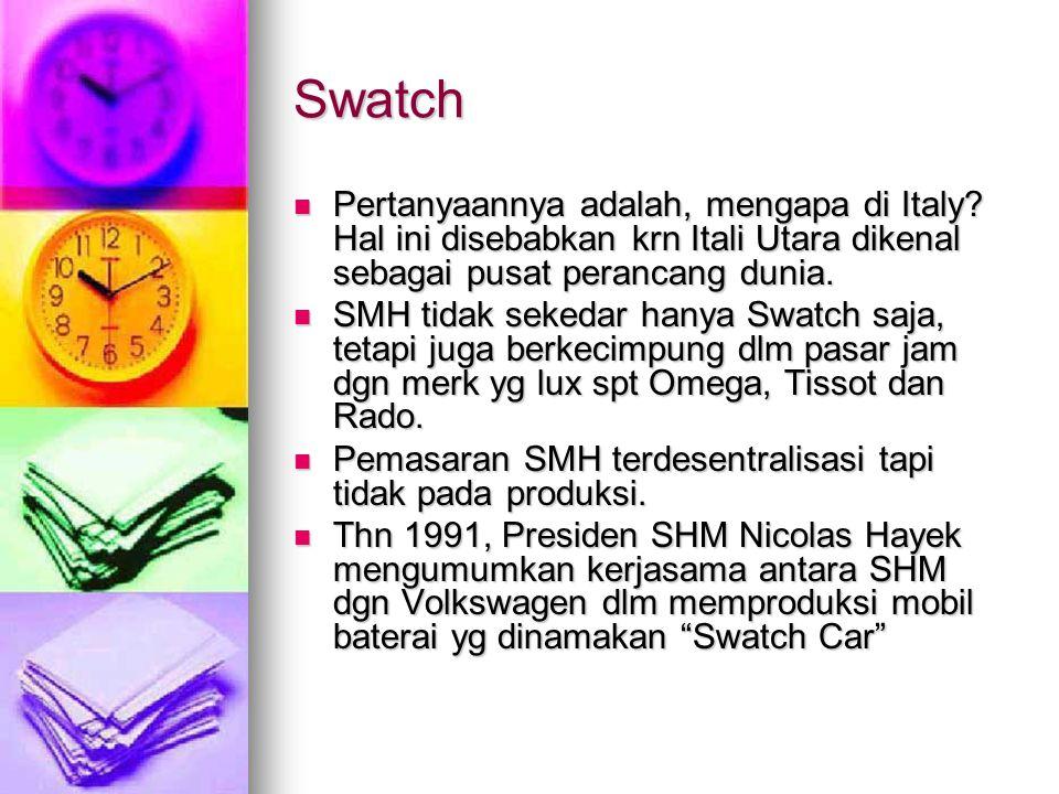 Swatch Pertanyaannya adalah, mengapa di Italy Hal ini disebabkan krn Itali Utara dikenal sebagai pusat perancang dunia.