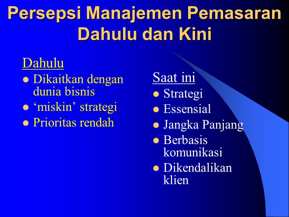 Persepsi Manajemen Pemasaran Dahulu dan Kini