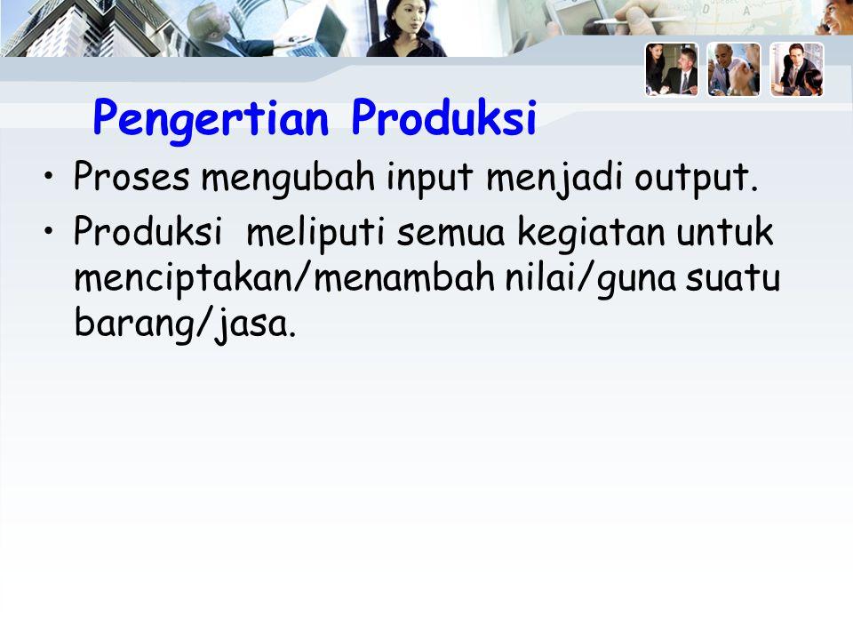 Pengertian Produksi Proses mengubah input menjadi output.