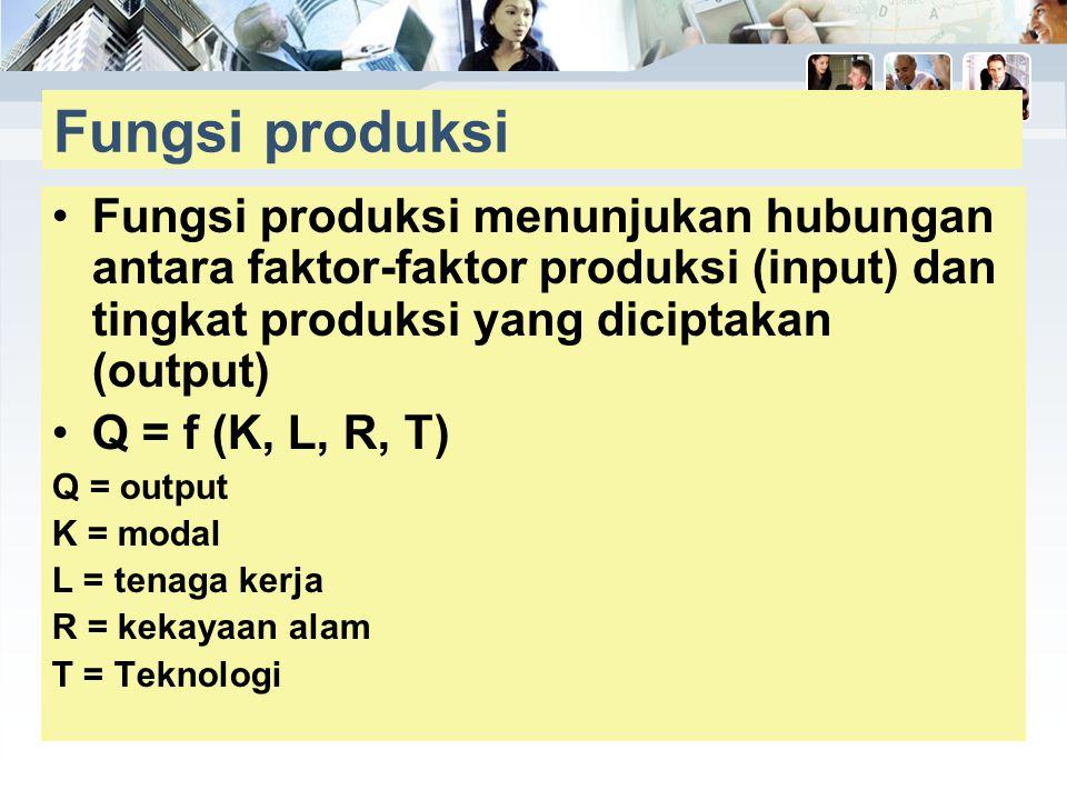 Fungsi produksi Fungsi produksi menunjukan hubungan antara faktor-faktor produksi (input) dan tingkat produksi yang diciptakan (output)