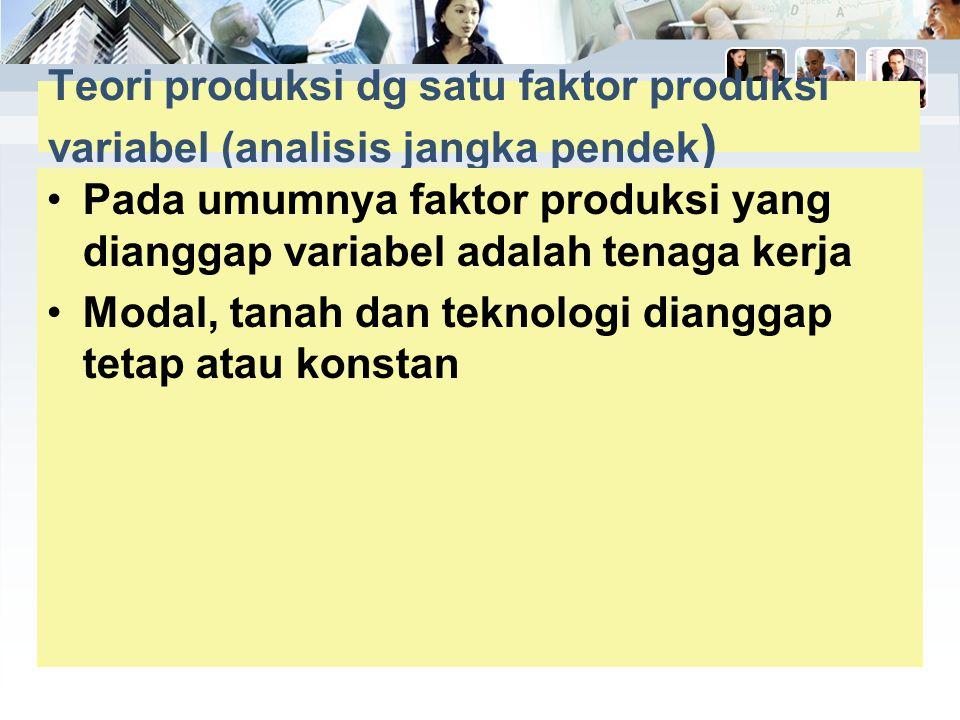 Teori produksi dg satu faktor produksi variabel (analisis jangka pendek)