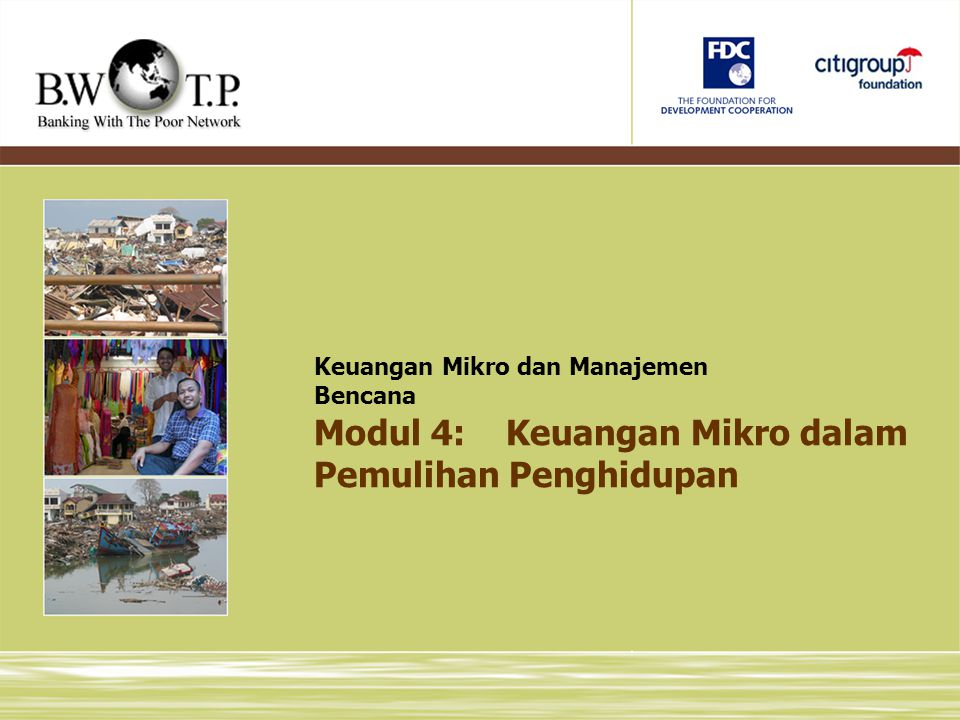 Modul 4: Keuangan Mikro dalam Pemulihan Penghidupan
