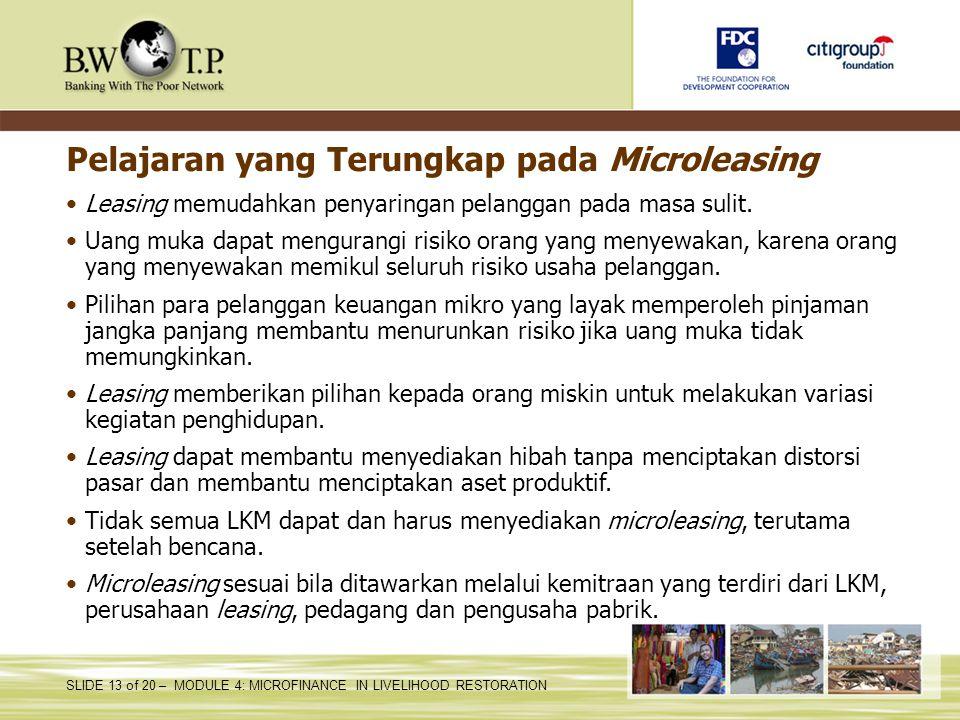 Pelajaran yang Terungkap pada Microleasing