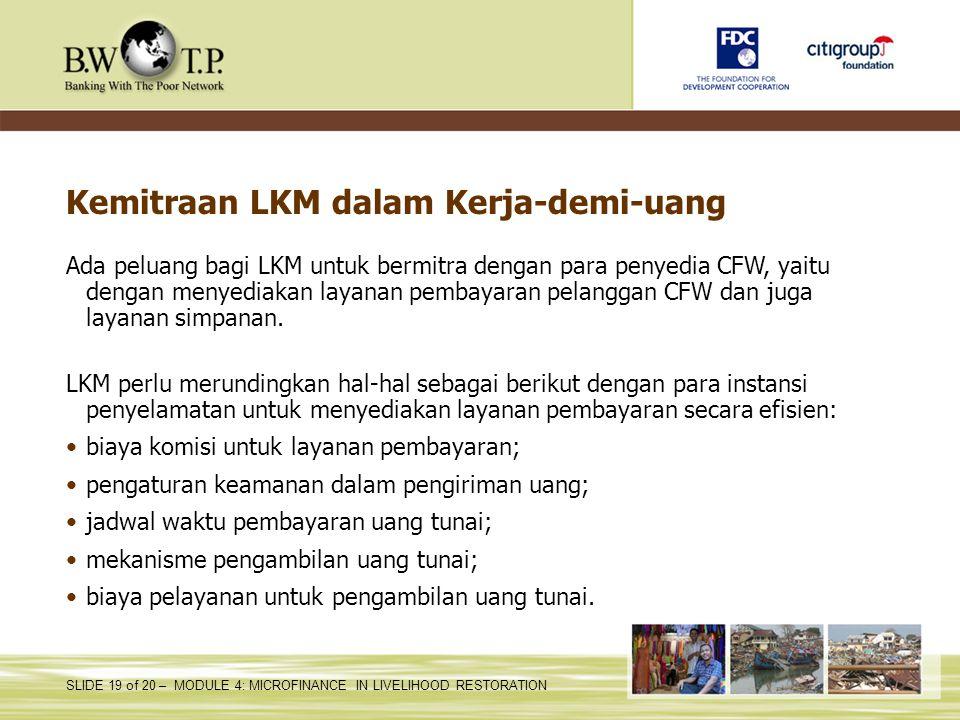 Kemitraan LKM dalam Kerja-demi-uang