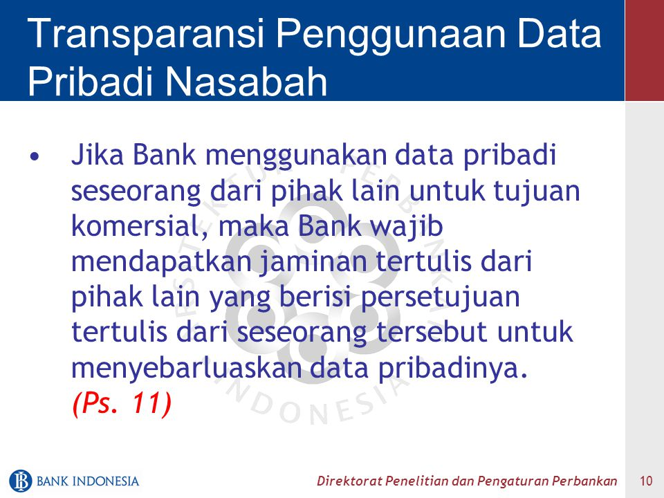 Transparansi Penggunaan Data Pribadi Nasabah