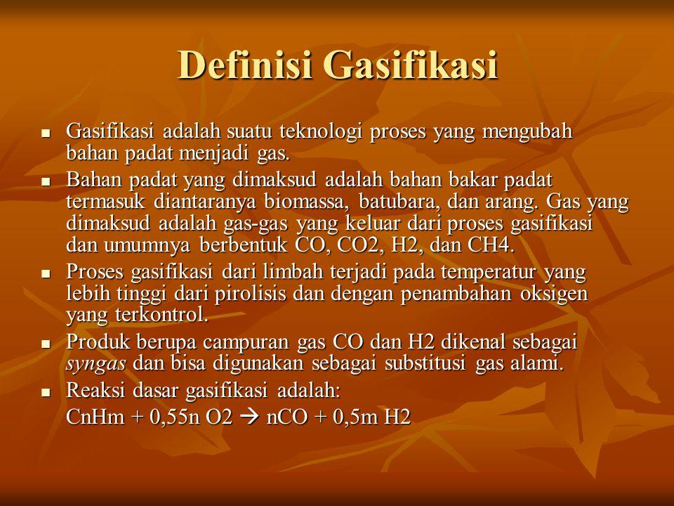 Definisi Gasifikasi Gasifikasi adalah suatu teknologi proses yang mengubah bahan padat menjadi gas.