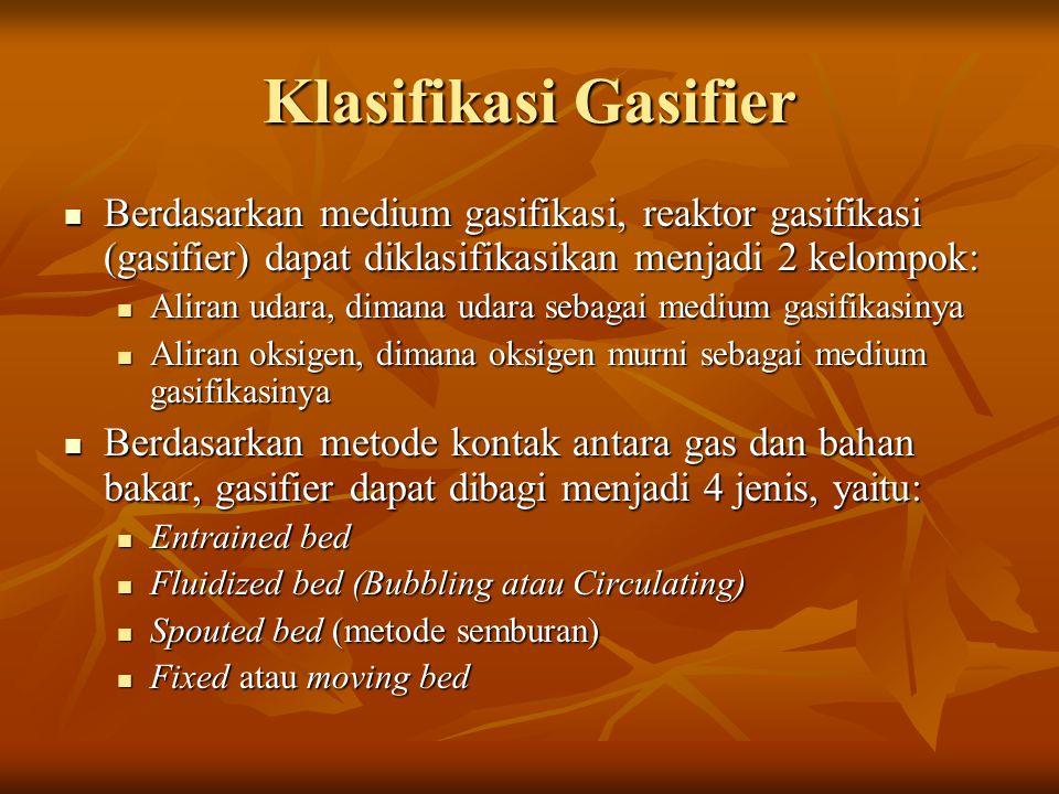 Klasifikasi Gasifier Berdasarkan medium gasifikasi, reaktor gasifikasi (gasifier) dapat diklasifikasikan menjadi 2 kelompok: