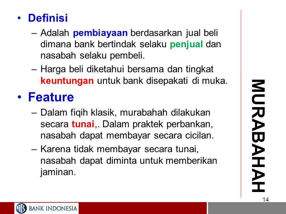 MURABAHAH Feature Definisi