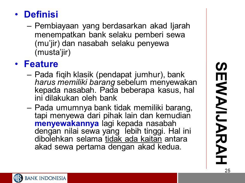 SEWA/IJARAH Definisi Feature