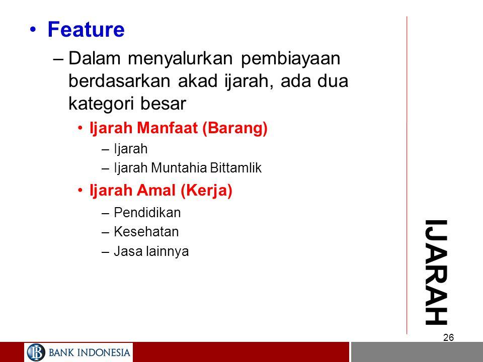 Feature Dalam menyalurkan pembiayaan berdasarkan akad ijarah, ada dua kategori besar. Ijarah Manfaat (Barang)