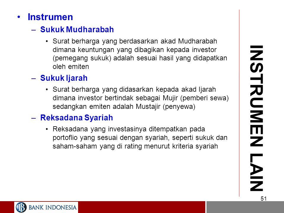 INSTRUMEN LAIN Instrumen Sukuk Mudharabah Sukuk Ijarah
