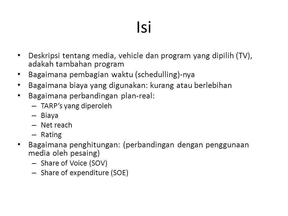 Isi Deskripsi tentang media, vehicle dan program yang dipilih (TV), adakah tambahan program. Bagaimana pembagian waktu (schedulling)-nya.