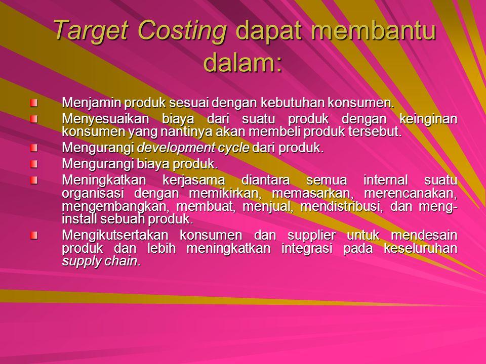 Target Costing dapat membantu dalam: