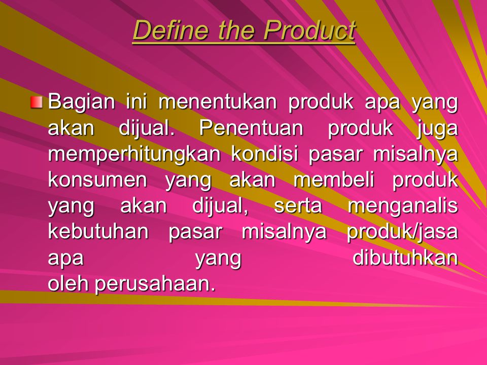 Define the Product