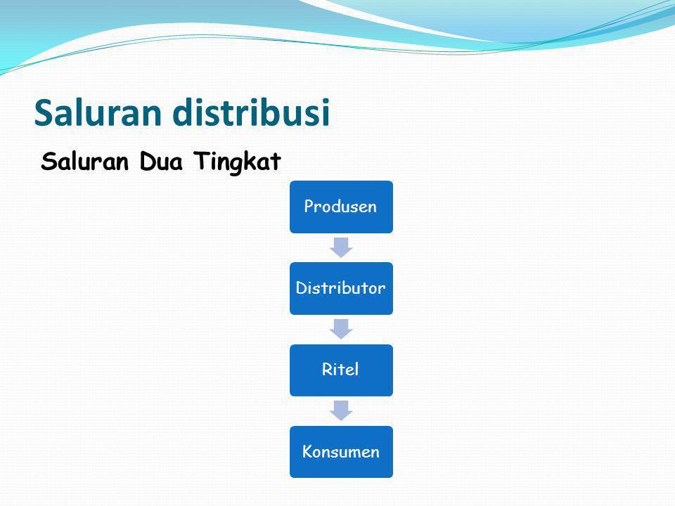 Saluran distribusi Saluran Dua Tingkat Produsen Distributor Ritel