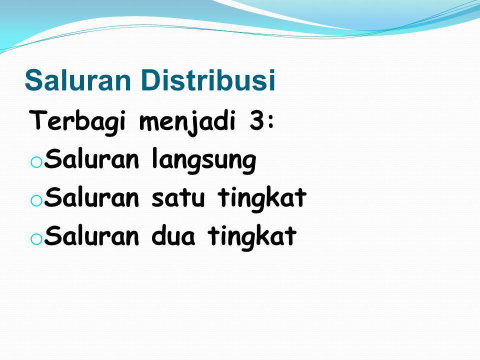 Saluran Distribusi Terbagi menjadi 3: Saluran langsung